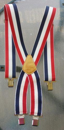 Funky Vintage 70s Red White & Blue Patriotic Stripes Suspenders