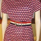 FAB 70s Trippy OP ART RED WHITE & BLUE Patriotic Colors Groovy Dress M