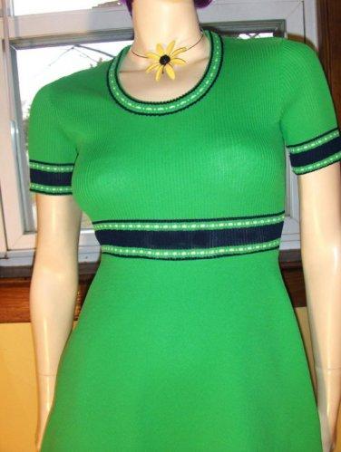 SWANKY MOD Lime Green A-line 60s 70s Mini Dress S/M