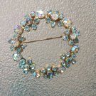Vintage 50s Shades of Blue Aurora Borealis Shimmering Rhinestone Wreath Brooch Pin