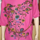 GLITTERAMA 70s 80s Pink Paisley Psychedelic MOD Batwing Tunic Top Mini-dress disco glam