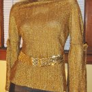 60s 70s MOD SPACE GIRL Metallic Gold Glitter GLAM Lurex Party Top M