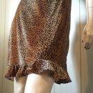 Kitty Kat Velvet Leopard Print Ruffle Hem Pencil Skirt XL NWOT