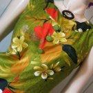 Vintage 60s Sears Hawaiian Fashions Tropical Floral Print MOD Hawaiian Style Maxi Dress M