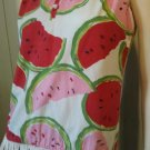 Vintage 60s Lady Van Heusen JUICY WATERMELON Fruity Novelty Print Fringe GO GO Top Blouse Sz M/L