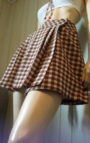 Vintage 60s SEARS Groovy Boho Hippie School Girl Brown Houndstooth Tweed Micro Mini Wrap Skirt XS