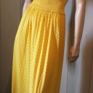 Vintage 70s Pinup Yellow Polka Dot Maxi Sundress S