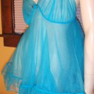 Vintage 60s 70s Blue Turquoise Sheer DBL NYLON Chiffon Babydoll Negligee M