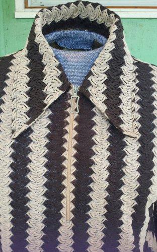 Vintage 60s 70s Swanky Swinger Semi Sheer Crazy Pattern Men's Shirt M/L