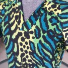 90s Wild Neon Animal Leopard Print Men's Spandex Shirt rock star wannabe L