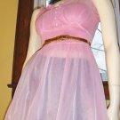 FLIRTY Mod Lolita Sheer Frilly PINK Chiffon double Nylon Babydoll  Sz 34 Small vintage 60s glam