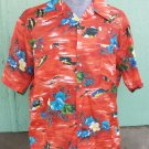 Vintage Hawaiian Tropical Fish and Hibiscus Flowers Swanky 70s Men's Party Shirt  XL