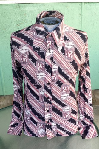 Super RARE Vintage 70s Absinthe Print Art Nouveau Ladies Men's Disco Novelty Print Shirt L 16-16 1/2