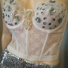 Sexy Vintage 80s Sheer White Lace Sequin Bead Embellished Bustier Bra Top S Pinup Burlesque Glam