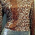 MEOW Vintage 60s 70s MOD Leopard Print Blouse Top M/L