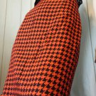 Vintage 80s Orange & Black Houndstooth Print High Waisted Pinup Pencil Skirt Sz 11