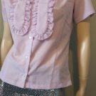 Vintage 70s Lolita Lovely Lilac Ascot Tie neck Ruffle Blouse Top M