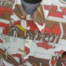 RARE Vintage 70s Disco Dancing Sailors Men's Flashy Novelty Print Shirt L