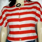Nautical Stripes Dolman Sleeves Vintage 80s Blouse Top S/M