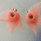 Vintage 1940s 50s Featherlite Plastic Ear Climber Rhinestone Center Clip On Earrings