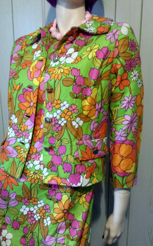 60s Psychedelic Neon Flower Power Mod Shift Mini Dress w/ Jacket S/M