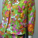 60s Psychedelic Neon Flower Power Mod Shift Mini Dress w/ Jacket S/M