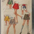Vintage 1970 Simplicity Sewing Pattern Misses Scooter Skirts Size 12 8698