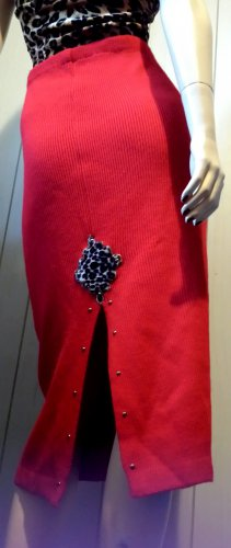 Vintage 80s Pinup Rockabilly Racy Red w/ Leopard Print & Studs Formfit Pencil Sweater Skirt M/L