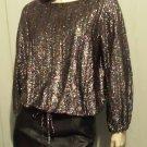Vintage 70s Disco Strobe Irredescent Metallic Glitter GLAM Lurex Top M/L