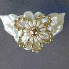 Vintage Flashy 80s Big Flower Beaded Plastic Hair Clip