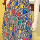 80s Trippy Electro Neon Op Art DISCO DOTS Pleated Skirt vintage fashionista S/M