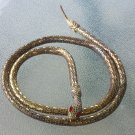 Vintage 70s Gold Tone Mesh Coiled Slinky Snake Belt Necklace w/ Red Rhinestone Eyes!