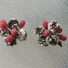 Vintage 50s Snow Covered Pinecones w Holly Berries Christmas Holiday Clip On Earrings