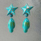 Vintage 80s Nautical Ocean Blue Star & Fish Painted Wooden Clip On Earrings