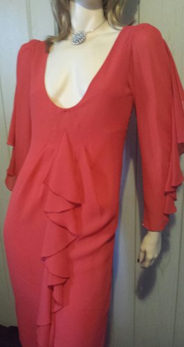 Vintage 70s Lipstick Red Ruffle Flutter Slv Chiffon Party Dress Sz 4 S