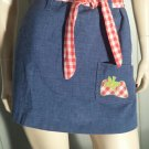 Vintage 70s Rockabilly Gal Cutest Gingham Blue Denim Mini Skirt XS
