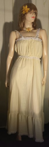 Vintage 70s Miss Elaine Sunshine Yellow Frilly Babydoll Sundress Long Gown Sz L