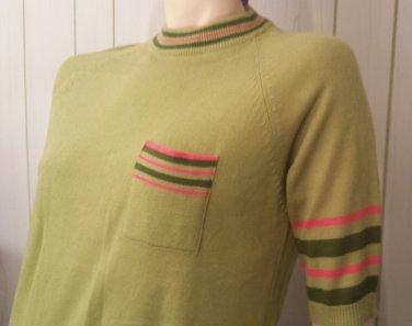 Vintage MOD 60s Green Swanky Stripes Acrylic Sweater Dress Sz M