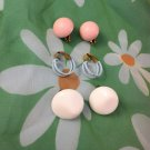 Vintage 1960s Mod Plastic Clip On Fashion Earrings Lot of 3