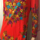 Rare Vintage 60s 70s MOD Designer SIGNED Mr. Dino Floral Border Print Maxi Dress Sz 10