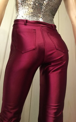 Vintage 70s 80s High Waisted Burgundy Satin Spandex ROLLER DISCO GLAM Jeans Pants Sz. 11/12