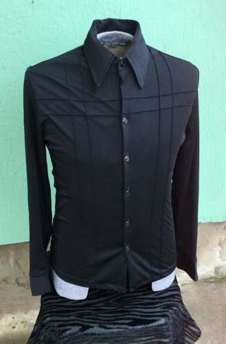 Vintage 70s TRIUMPH OF CALIFORNIA Black Polyester Mens Disco Daddy Shirt M.