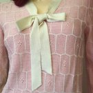 Vintage 70s R & K ORIGINALS Pink Tie Neck Pointelle Knit Sweater Top MINT NWT NOS Size 8 Small