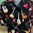 Men's Gibson Tour Wear by DragonFly Rockin Guitar Novelty Print Rock Star Shirt Sz XL