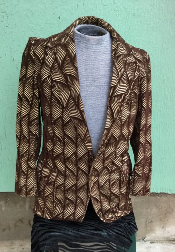 Vintage 60s 70s VIVA LAS VEGAS FLASHY Men's Brown Velvet Psychedelic Sports Coat Blazer Jacket  S/M