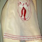 Vintage 50s Housewife Embroidered Snowmen Sheer Snow White Christmas Apron