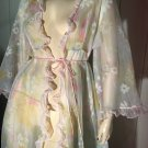 Vintage 60s Hollywood Glam Sheer Floral Chiffon Ruffle Trim Robe Sz L.