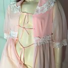 Vintage 60s Peachy Pink Glam Sheer Chiffon Puff Sleeve Nylon Robe Sz M