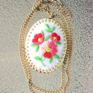 "Vintage 60s 70s Floral Embroidered Gold Tone 18"" Pendant Necklace"