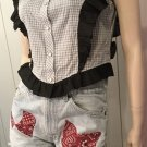 70s H BAR C CALIFORNIA RANCHWEAR Western Pearl Snap Rockabilly Bluegrass Top Sz 36  RARE MINT NWT